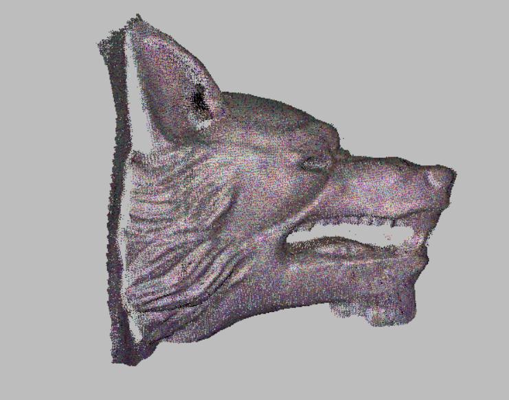 prestation 3d d'une prise de scanner 3D de statue